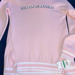 Ideology Girls Can do Anything Pink Hoodie NWT